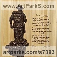 Military, Soldiers, Sailors, Marines Airmen and Military Equipment by sculptor artist Laura Lian titled: 'Unknown Soldier/Flanders field' in Bronze and wood