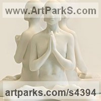 Buddha Sculpture Statues figurines statuettes by sculptor artist Laura Lian titled: 'White Buddha Prayer (Small Contemplative/Meditation Indoor statuette)' in White marble resin
