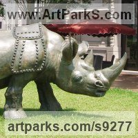 Public Park or Urban Landscape or Corporate sculpture / Fountain / Sratuary by sculptor artist Li-Jen SHIH titled: 'Run to Victory (life size Asian Rhino sculpture statue)' in Bronze