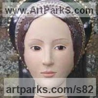 Polychrome Sculpture by sculptor artist Lida Baas titled: 'Anne Boleyn' in Stoneware, glazed & gilded