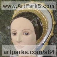 Ceramic Sculpture by sculptor artist Lida Baas titled: 'Catherine Howard' in Stoneware, glazed & gilded
