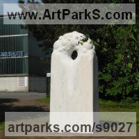 Public Park or Urban Landscape or Corporate sculpture / Fountain / Sratuary by sculptor artist Liliya Pobornikova titled: 'Morning dew 2 (abstract marble garden sculpture)' in Marble sculpture