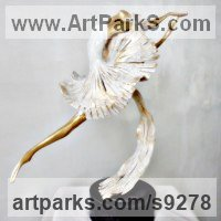 Ballet Dancer Ballerina Classical Dance Sculpture Statues statuettes Figurines by sculptor artist Liubka Kirilova titled: 'BALLERINA II (Contemporary Ballet Dancer sculpture)' in Bronze