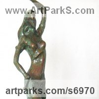 Classical Oriental Sculpture by sculptor artist Liubka Kirilova titled: 'Dancer (Small Semi Naked Oriental Dancer Contemporary statue statuette)' in Bronze