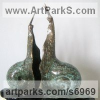 Shells Sculpture including Land and Sea and Freshwater Shells Fossil Shells by sculptor artist Liubka Kirilova titled: '`Date` (Humerous bronze Snail Lovers statuette sculpture statue)' in Bronze