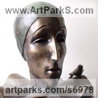 Figurative Public Art Sculpture by sculptor artist Liubka Kirilova titled: '`Pierro` (bronze life size Stylised Harlequin Bust Head statue sculpture)' in Bronze