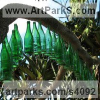 Kinetic or Mobile Sculpture or Statue by sculptor artist Lorna Green titled: 'Blooming Branches (abstract Installation Musical Wind sculpture/Art)' in Glass bottles, plastic bottle tops