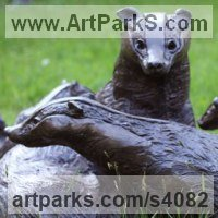 Animals and Birds at Play Sculpture Statues by sculptor artist Lorne Mckean titled: 'Badger Family (Bronze life size Group garden Outdoor statue sculpture)' in Bronze