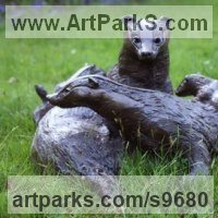 Badger, Otter, Beaver, Weasel, Stoat, Pine Martin, Wombat Sculpture by sculptor artist Lorne Mckean titled: 'Badger Family in Bronze (Bronze life size Badger Family statue)' in Bronze
