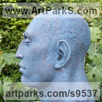 Mask, Wall Hung Faces and Part Heads by sculptor artist Lucy Kinsella titled: 'Monumental Blue Head' in Bronze resin