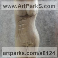 Carved Wood Sculpture by sculptor artist Luigi Bartolini titled: 'Ardhanari (Modern Contemporary Girl Torso statue)' in Walnut wood