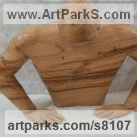 Torsos Sculpture or Chests of Men and Women Females Girls Children Statues statuery statuettes by sculptor artist Luigi Bartolini titled: 'Destiny of Human Being (Carved Wood Male Torso carving statue sculpture)' in Chestnut wood