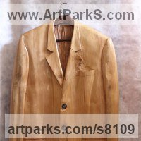 Drapery Sculpture Statue Statuettes Carvings by sculptor artist Luigi Bartolini titled: 'It`s not the Gay Coat makes a Gentleman (Carved Jacket statue)' in Lime wood