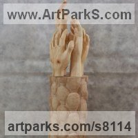 Allegorical / Parable Sculpture by sculptor artist Luigi Bartolini titled: 'Need working Arms, come people (carved Hands statue)' in Arolla pine, maple woods