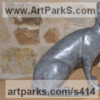 Cats Sculpture by sculptor artist Lynda Hukins titled: 'Cat (Sitting Alert Stylised garden Indoor statue statuette sculpture)' in Bronze
