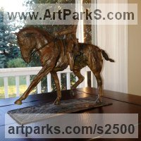 Modern Abstract Contemporary Avant Garde Sculpture or Statues or statuettes or statuary by sculptor artist Marie Ackers titled: 'Extended Trot I (abstract Equestrian Bronze Dressage statuette/statue)' in Bronze