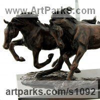 Horse Sculpture / Equines Race Horses Pack HorseCart Horses Plough Horsess by sculptor artist Marie Ackers titled: 'Galloping Horses (Solid Little Bronze sculptures/statues/statuette)' in Bronze