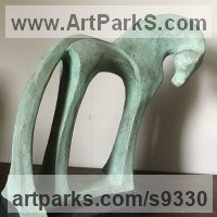 Small Animal Sculpture by sculptor artist Marie Ackers titled: 'Green horse #1' in Bronze resin