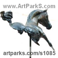 Horse Sculpture / Equines Race Horses Pack HorseCart Horses Plough Horsess by sculptor artist Marie Ackers titled: 'Kohulan - Bay (abstract Little Indoor Arab Horse statue)' in Bronze