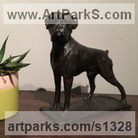Small Animal Sculpture by sculptor artist Marie Ackers titled: 'proud (Little bronze Boxer Dog sculpture/statuette/ornament/figurine)' in Bronze or resin