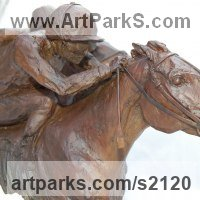 Sculpture of Sport in General by sculptor artist Marie Ackers titled: 'The Finishing Line (Horse Racing semi abstract Galloping Horses statue)' in Bronze