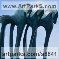 Organic / Abstract Sculpture by sculptor artist Marie Ackers titled: 'The Three Kings (Contemporary abstract horses statuette)' in Bronze resin with blue wash patina