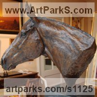 Horse Sculpture / Equines Race Horses Pack HorseCart Horses Plough Horsess by sculptor artist Marie Ackers titled: 'Thoroughbred Head Study (Horse Head Bust sculpture statue statuette)' in Bronze