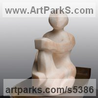 Marine Maritime Water Sea sculpture statue statuette by sculptor artist Mark Yale Harris titled: 'Afloat (Sitting Modern abstract Carved Figurine)' in Alabaster & steel