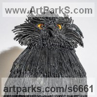 Animal Form: Abstract Sculpture by sculptor artist Martha Walker titled: 'Vigilance (Contemporary Steel Metal Owl Perched statues/sculptures)' in Welded steel, \