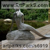 Stainless Steel Sculpture by sculptor artist Martin Debenham titled: 'Mermaid 3 (stainless Steel nude Girl Wire statue)' in Stainless steel