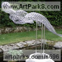 Glass or Acrylic Transparant Sculpture by sculptor artist Martin Debenham titled: 'Mermaid 2 (stainless Steel nude Girl Wire statue)' in Stainless steel
