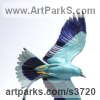 Birds in Flight, Birds Flying Sculpture or Statues by sculptor artist Martin Hayward-Harris titled: 'Jewel in The Crown (European Roller statue)' in Bronze
