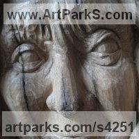 Emerging Form or Face or Feature sculpture statue statuette for sale by sculptor artist Martina Net�kov� titled: 'Beauty of Aged (Wood Old Lady Portrait Commissions)' in Oak