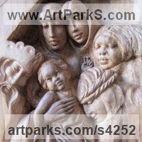 Parent - Child Sculpture by sculptor artist Martina Netikova titled: 'King of Kings (Carved Wood Holy Family Wall Plaques/statues/carving)' in Walnut