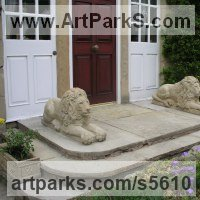 Classical Sculpture and Statues by sculptor artist Martyn Bednarczuk titled: '2 carved Lions (Pair Front Doorstep Resting Carved stone statues)' in Sand stone