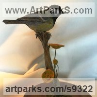 Carved Wood Sculpture by sculptor artist Martyn Bednarczuk titled: 'Blue Tit (Carved Life Coloured Indoor Bird statue)' in Wood