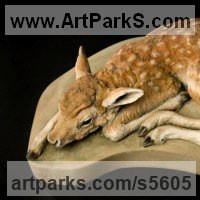 Wild Animals and Wild Life Sculpture by sculptor artist Martyn Bednarczuk titled: 'Fellow Deer Fawn (Carved stone Life Like/life size carving/statues)' in Carved stone