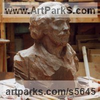 Busts and Heads Sculpture Statues statuettes Commissions Bespoke Custom Portrait Memorial Commemorative sculpture or statue by sculptor artist Martyn Bednarczuk titled: 'Figure Head Study (Carved Timber/Wood Commission/Custom/statue)' in Black american wallnut