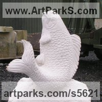 Water Features, Fountains and Cascades by sculptor artist Martyn Bednarczuk titled: 'Fish (Carved Portland stone Flapping Carp For garden or Yard/Pond/Pool)' in Portland stone