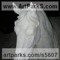 Horses Outdoors, Outside, Life Size, Big, Large, Huge Sculpture Statues memorials commissions custom made by sculptor artist Martyn Bednarczuk titled: 'Horse Head (Carved stone Bust garden/Yard statues/sculpture)' in Portland stone