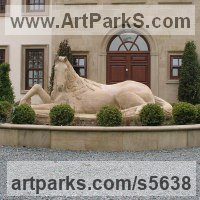 Farm Yard Sculpture by sculptor artist Martyn Bednarczuk titled: 'Horse Resting (Carved stone Horse Lying statue/sculpture)' in Sand stone