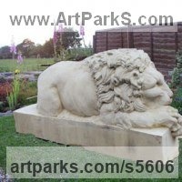 Cats Sculpture by sculptor artist Martyn Bednarczuk titled: 'Lion (Carved Classical stone After Cannova garden/Yard statue carving)' in Sand stone