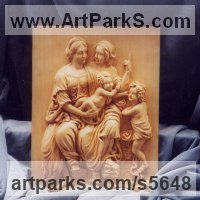 Wall Mounted or Wall Hanging sculpture by sculptor artist Martyn Bednarczuk titled: 'Madonna (Carved Wood high Relief Panel Plaque Carving statue sculpture)' in Lime wood