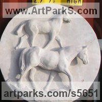 Wall Panel Carved Engraved Cast Moulded Sculpture Statue plaque by sculptor artist Martyn Bednarczuk titled: 'Pair of Horses (Carved stone Circular/Round Plaques/Panel/carving)' in Lime stone