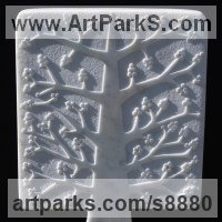 Wall Panel Carved Engraved Cast Moulded Sculpture Statue plaque by sculptor artist Michael Disley titled: 'marble Autumn Tree (Relief abstract panel Carving)' in Marble