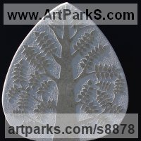 Wall Panel Carved Engraved Cast Moulded Sculpture Statue plaque by sculptor artist Michael Disley titled: 'marble Spring Tree (Wall Relief Carved Unique sculpture)' in Marble