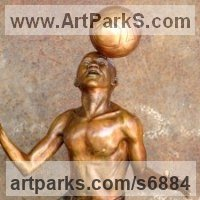 Playground Art Fantasy or Cartoon Statues Sculpture by sculptor artist Michael J Mawdsley titled: 'Xolani Control (Bronze African Footballer Balancing Football sculpture)' in Bronze