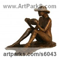Books by sculptor artist Mitchell House titled: 'An Afternoons Read (Small Girl Sitting Resting Reading Book statues)' in Bronze