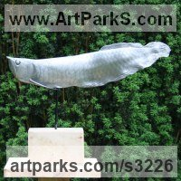Sea Fish Sculpture by sculptor artist Mitchell House titled: 'Arowana Fish (Living Fossil Fish Swimming life size Bronze sculpture)' in Cold cast,aluminium,bronze,marble