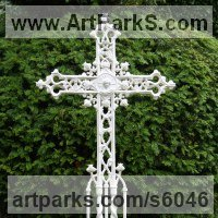 Monumental Sculpture by sculptor artist Mitchell House titled: 'Ornate Gothic Cross/grave marker' in Bronze,iron, aluminium